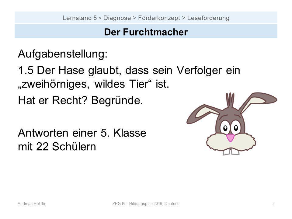 """Lernstand 5 > Diagnose > Förderkonzept > Leseförderung Aufgabenstellung: 1.5 Der Hase glaubt, dass sein Verfolger ein """"zweihörniges, wildes Tier"""" ist."""