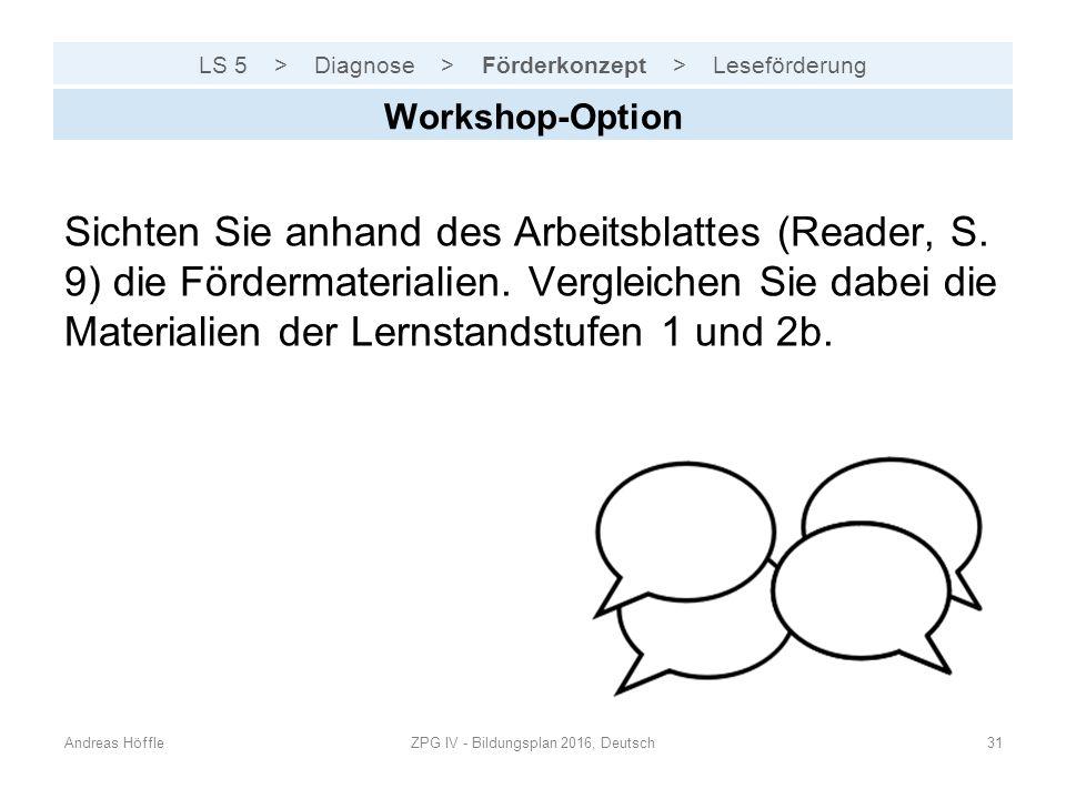 LS 5 > Diagnose > Förderkonzept > Leseförderung Andreas HöffleZPG IV - Bildungsplan 2016, Deutsch31 Workshop-Option Sichten Sie anhand des Arbeitsblat