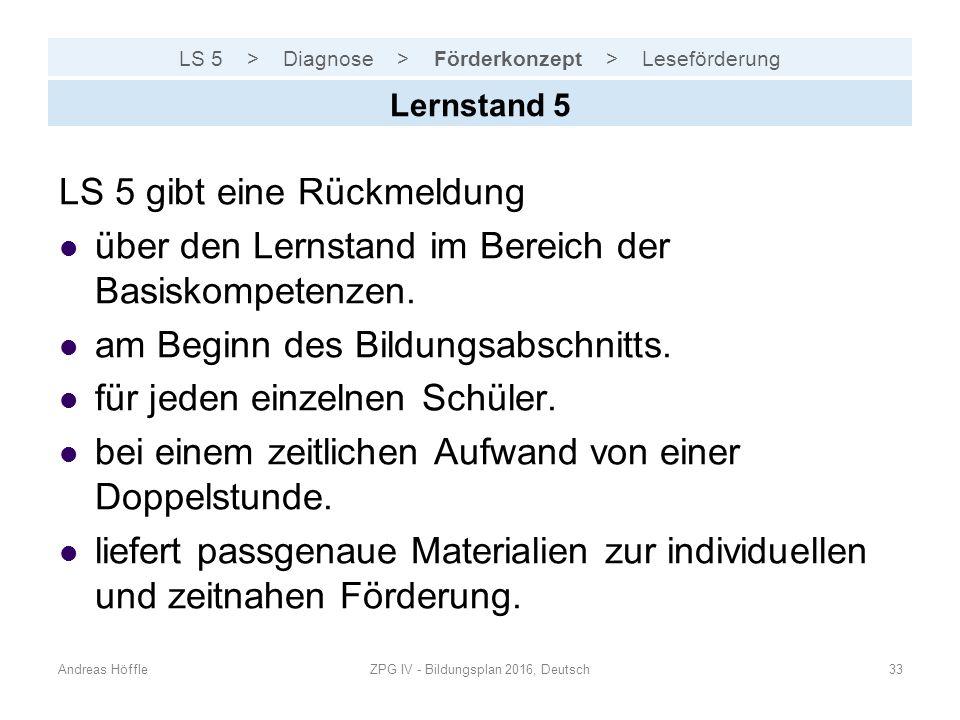 LS 5 > Diagnose > Förderkonzept > Leseförderung Andreas HöffleZPG IV - Bildungsplan 2016, Deutsch33 Lernstand 5 LS 5 gibt eine Rückmeldung über den Le