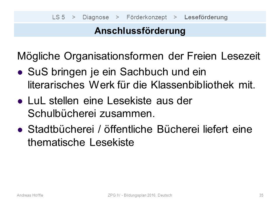 LS 5 > Diagnose > Förderkonzept > Leseförderung Andreas HöffleZPG IV - Bildungsplan 2016, Deutsch35 Anschlussförderung Mögliche Organisationsformen de
