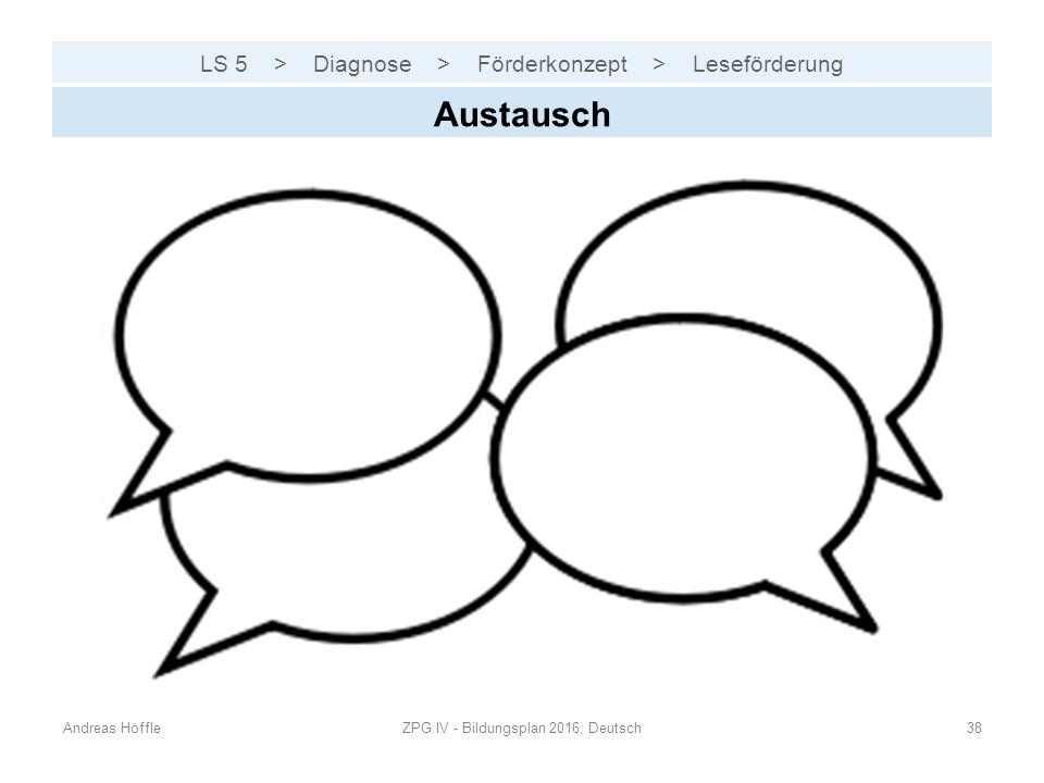 LS 5 > Diagnose > Förderkonzept > Leseförderung Andreas HöffleZPG IV - Bildungsplan 2016, Deutsch38 Austausch