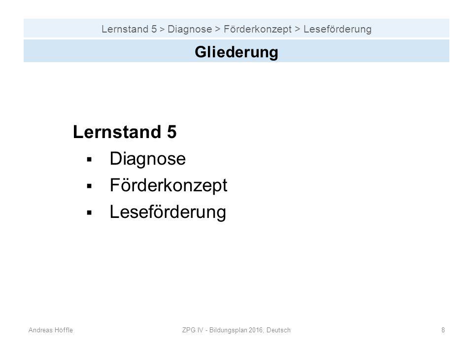 Lernstand 5 > Diagnose > Förderkonzept > Leseförderung Andreas HöffleZPG IV - Bildungsplan 2016, Deutsch8 Gliederung Lernstand 5  Diagnose  Förderko