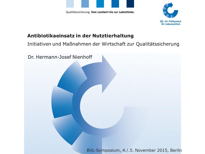 Antibiotikaeinsatz in der Nutztierhaltung Initiativen und Maßnahmen der Wirtschaft zur Qualitätssicherung Dr. Hermann-Josef Nienhoff BVL-Symposium, 4.