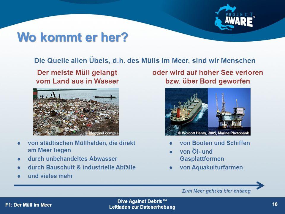 Dive Against Debris™ Leitfaden zur Datenerhebung F1: Der Müll im Meer Wo kommt er her? 10 oder wird auf hoher See verloren bzw. über Bord geworfen Der