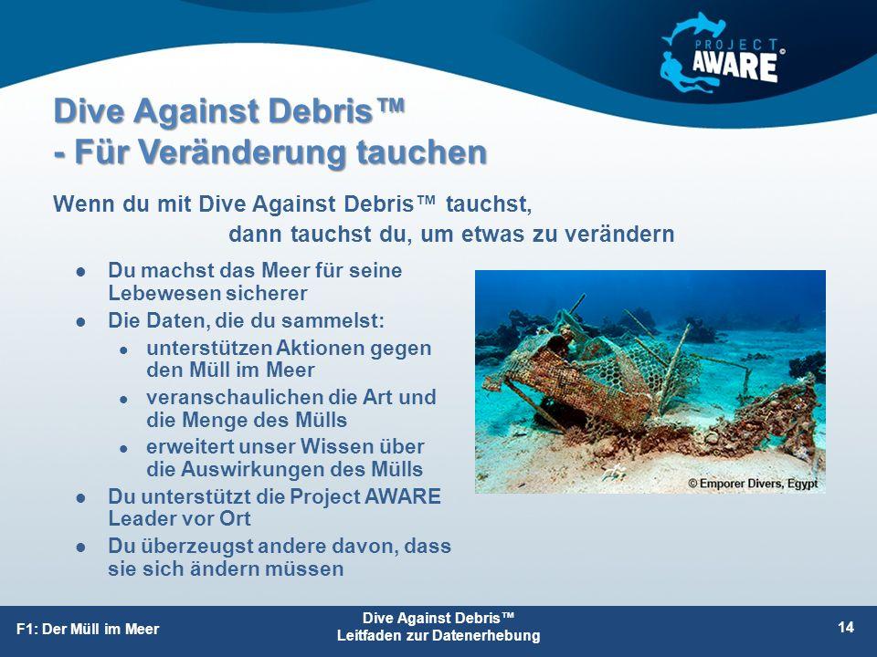 Dive Against Debris™ - Für Veränderung tauchen Du machst das Meer für seine Lebewesen sicherer Die Daten, die du sammelst: unterstützen Aktionen gegen