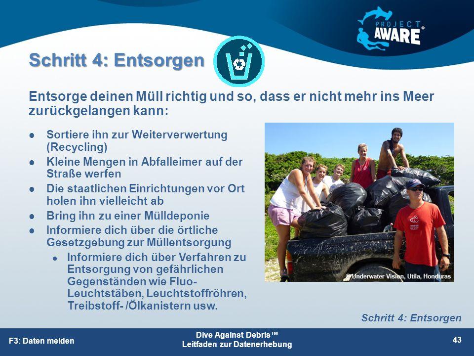 Schritt 4: Entsorgen Sortiere ihn zur Weiterverwertung (Recycling) Kleine Mengen in Abfalleimer auf der Straße werfen Die staatlichen Einrichtungen vo