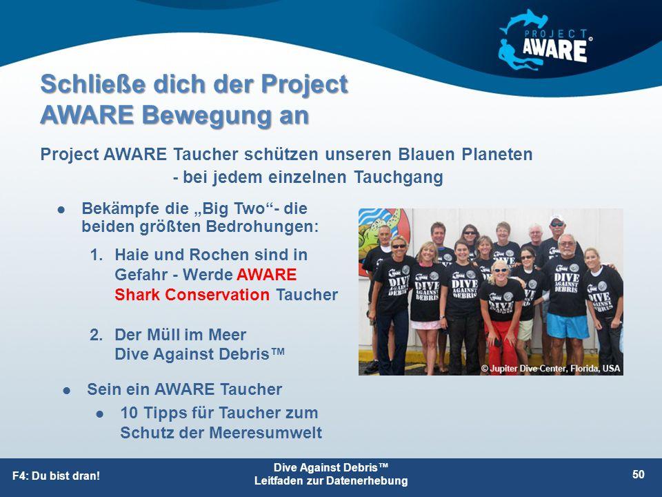 "Schließe dich der Project AWARE Bewegung an Bekämpfe die ""Big Two""- die beiden größten Bedrohungen: Project AWARE Taucher schützen unseren Blauen Plan"