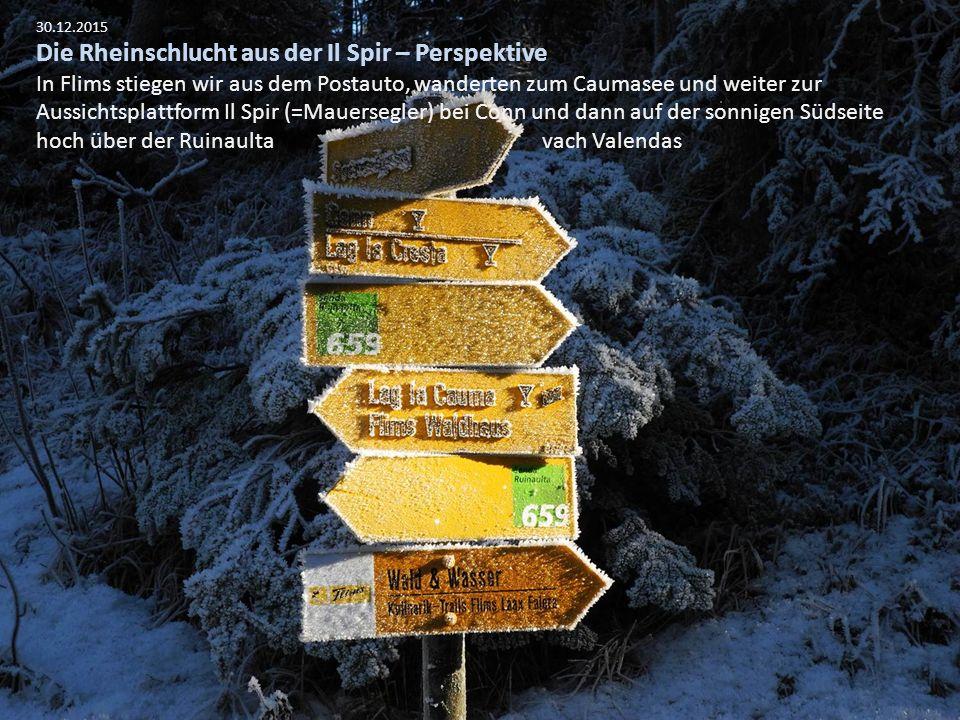 30.12.2015 Die Rheinschlucht aus der Il Spir – Perspektive In Flims stiegen wir aus dem Postauto, wanderten zum Caumasee und weiter zur Aussichtsplatt