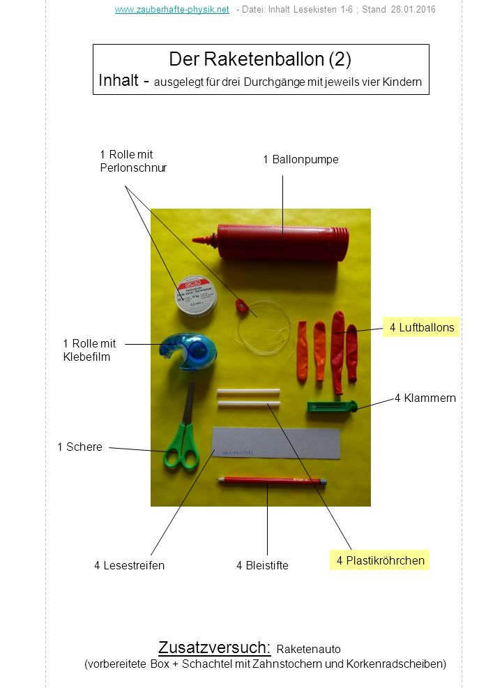 Der Raketenballon (2) Inhalt - ausgelegt für drei Durchgänge mit jeweils vier Kindern 1 Ballonpumpe 1 Rolle mit Klebefilm 4 Bleistifte4 Lesestreifen 1