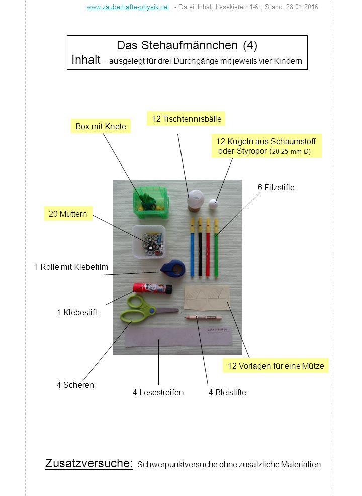 Das Stehaufmännchen (4) Inhalt - ausgelegt für drei Durchgänge mit jeweils vier Kindern 4 Bleistifte 12 Tischtennisbälle Box mit Knete 12 Kugeln aus S