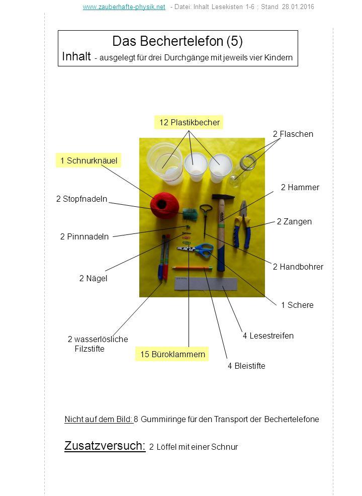 Das Bechertelefon (5) Inhalt - ausgelegt für drei Durchgänge mit jeweils vier Kindern 12 Plastikbecher 15 Büroklammern 2 Handbohrer 2 Flaschen 4 Lesestreifen 2 wasserlösliche Filzstifte 4 Bleistifte 2 Hammer 2 Zangen 1 Schnurknäuel 2 Nägel 2 Pinnnadeln 2 Stopfnadeln 1 Schere www.zauberhafte-physik.netwww.zauberhafte-physik.net - Datei: Inhalt Lesekisten 1-6 ; Stand 28.01.2016 Nicht auf dem Bild: 8 Gummiringe für den Transport der Bechertelefone Zusatzversuch: 2 Löffel mit einer Schnur