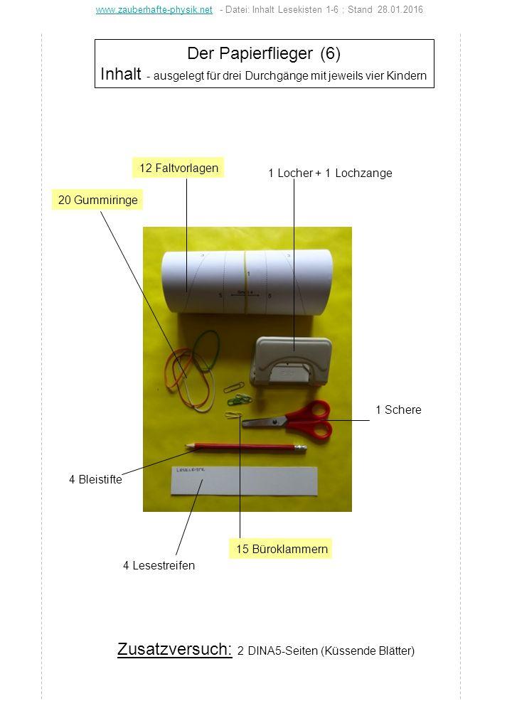 Der Papierflieger (6) Inhalt - ausgelegt für drei Durchgänge mit jeweils vier Kindern 1 Locher + 1 Lochzange 12 Faltvorlagen 20 Gummiringe 4 Bleistift