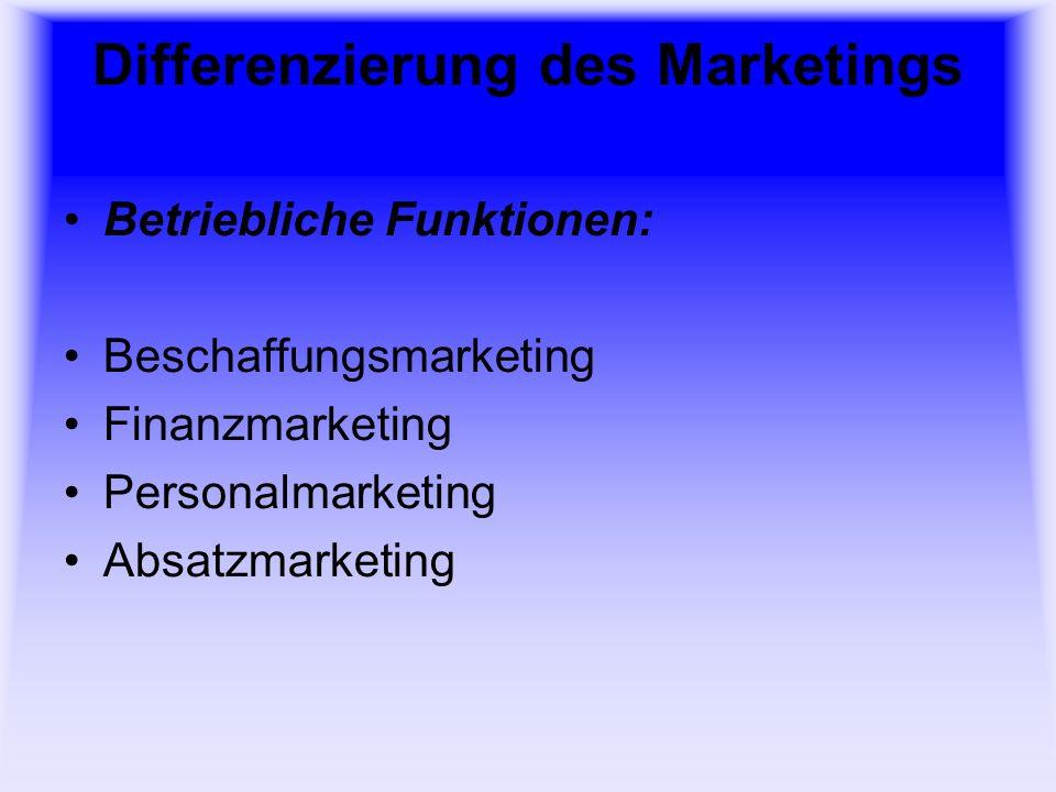 Differenzierung des Marketings Objekte: Konsumgüter- Investitionsgüter- Dienstleistungsmarketing