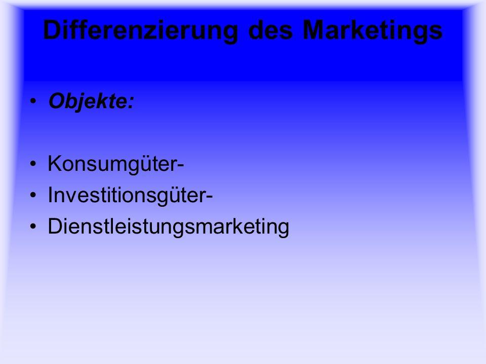 Differenzierung des Marketings Subjekte (Rechtsträger): Herstellermarketing Handelsmarketing