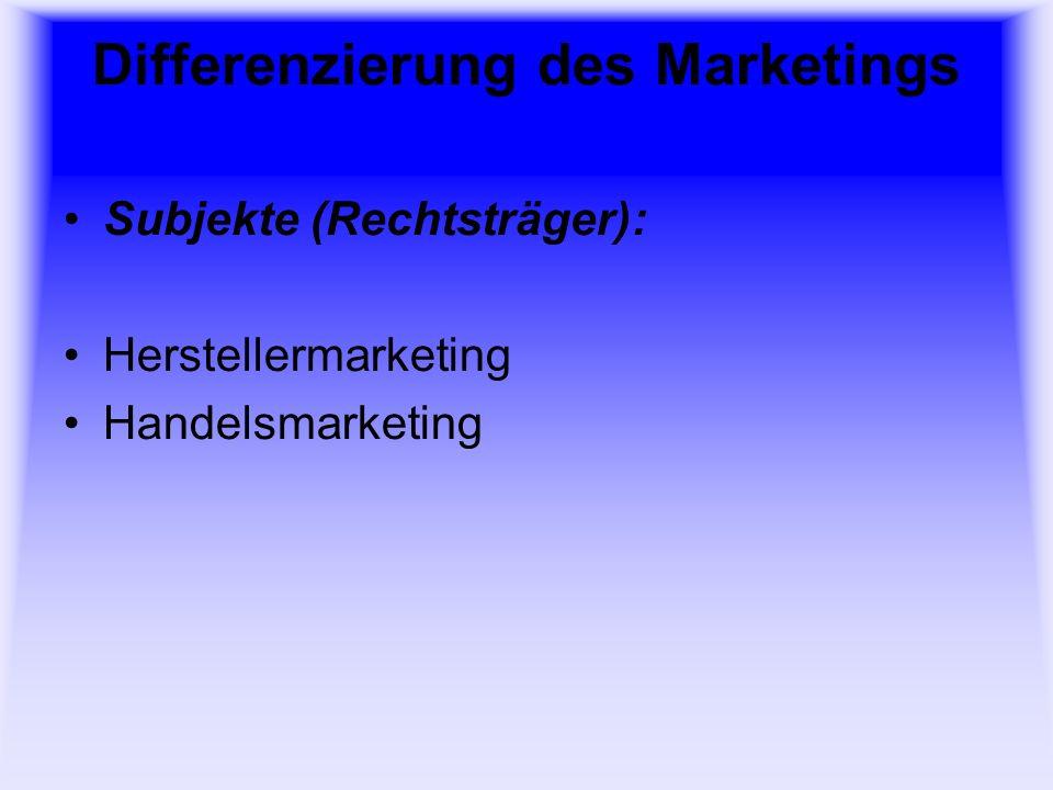 Differenzierung des Marketings Euro-Marketing (Europäische Union) Global-Marketing (Weltweite Vermarktung)
