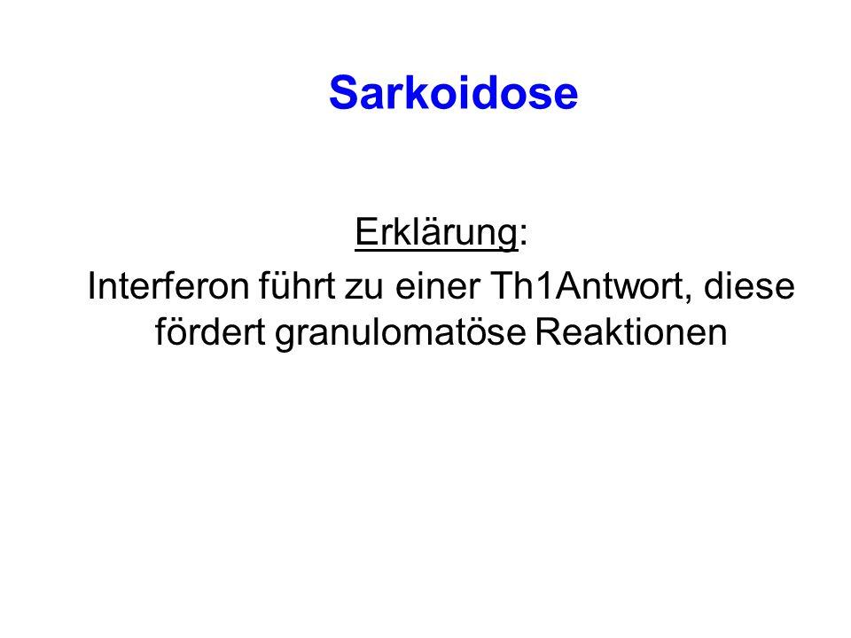 Sarkoidose Erklärung: Interferon führt zu einer Th1Antwort, diese fördert granulomatöse Reaktionen