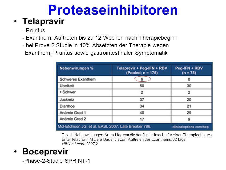 Proteaseinhibitoren Telapravir - Pruritus - Exanthem: Auftreten bis zu 12 Wochen nach Therapiebeginn - bei Prove 2 Studie in 10% Absetzten der Therapie wegen Exanthem, Pruritus sowie gastrointestinaler Symptomatik Boceprevir -Phase-2-Studie SPRINT-1 Tab.