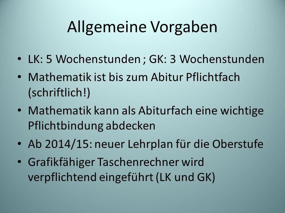 Allgemeine Vorgaben LK: 5 Wochenstunden ; GK: 3 Wochenstunden Mathematik ist bis zum Abitur Pflichtfach (schriftlich!) Mathematik kann als Abiturfach