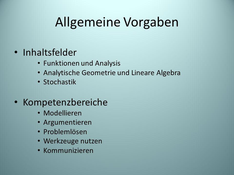 Allgemeine Vorgaben Inhaltsfelder Funktionen und Analysis Analytische Geometrie und Lineare Algebra Stochastik Kompetenzbereiche Modellieren Argumentieren Problemlösen Werkzeuge nutzen Kommunizieren