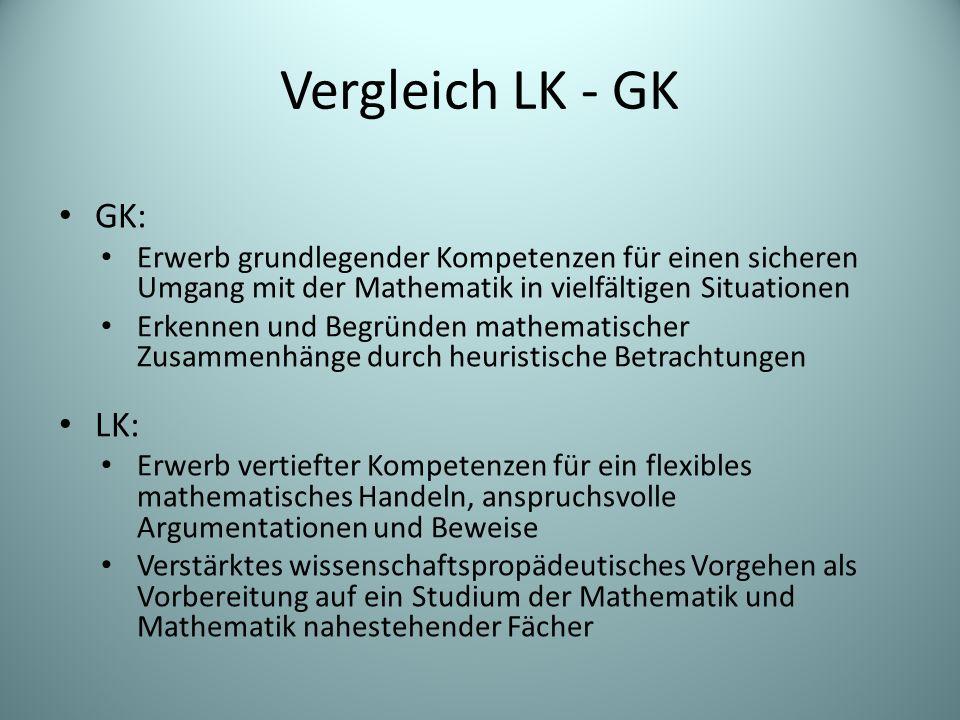 Vergleich LK - GK GK: Erwerb grundlegender Kompetenzen für einen sicheren Umgang mit der Mathematik in vielfältigen Situationen Erkennen und Begründen