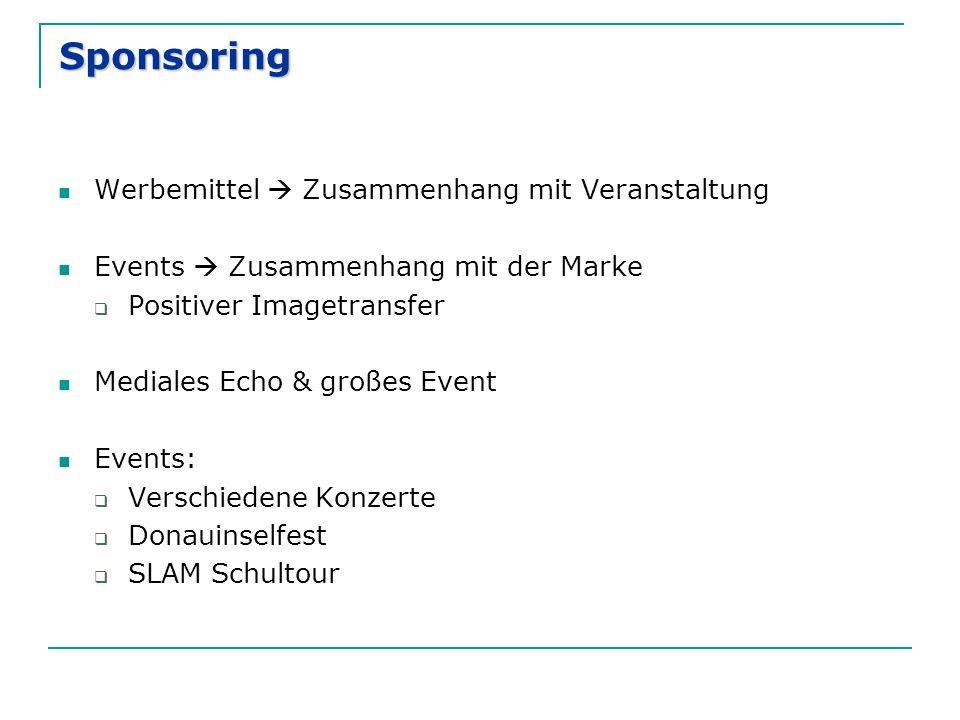 Sponsoring Werbemittel  Zusammenhang mit Veranstaltung Events  Zusammenhang mit der Marke  Positiver Imagetransfer Mediales Echo & großes Event Events:  Verschiedene Konzerte  Donauinselfest  SLAM Schultour