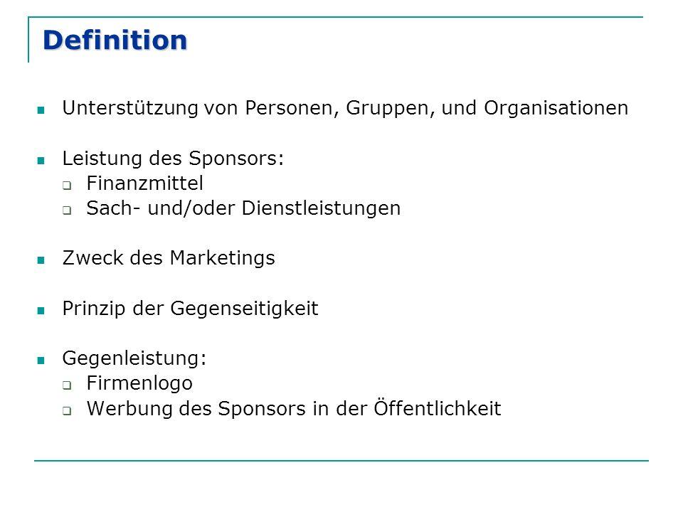 Definition Unterstützung von Personen, Gruppen, und Organisationen Leistung des Sponsors:  Finanzmittel  Sach- und/oder Dienstleistungen Zweck des Marketings Prinzip der Gegenseitigkeit Gegenleistung:  Firmenlogo  Werbung des Sponsors in der Öffentlichkeit