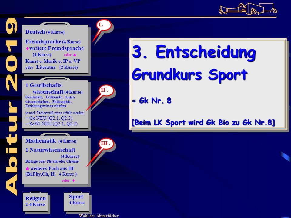 Wahl der Abiturfächer 3. Entscheidung Grundkurs Sport = Gk Nr.