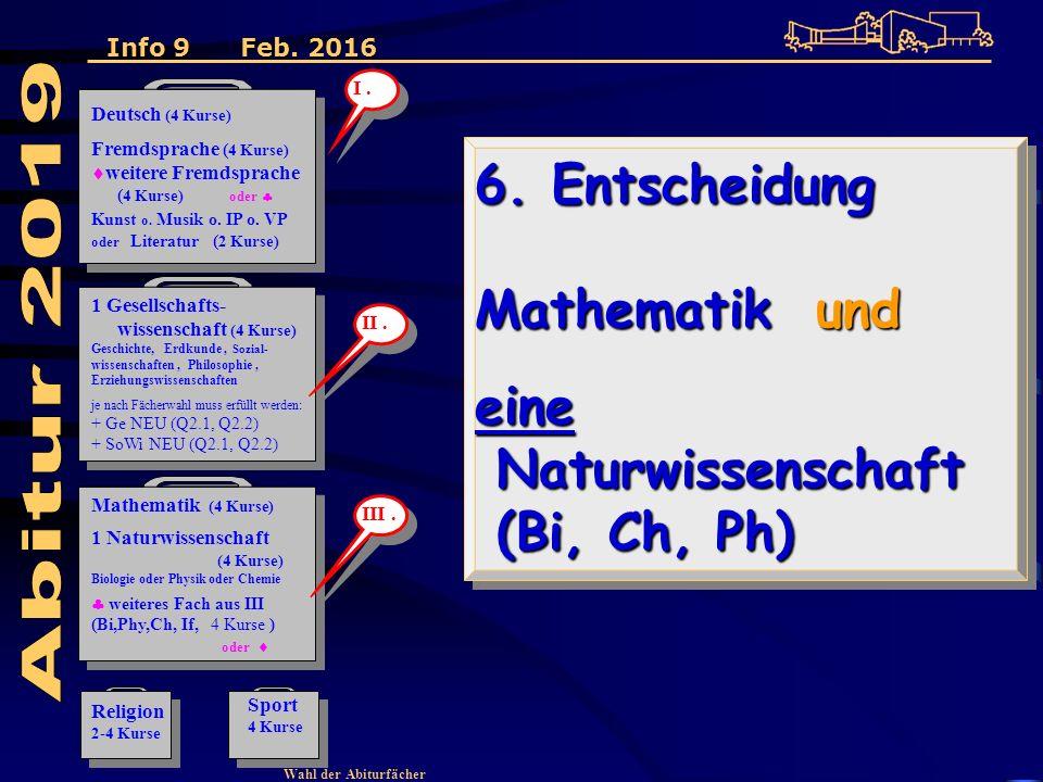 Wahl der Abiturfächer 6. Entscheidung Mathematik und eine Naturwissenschaft (Bi, Ch, Ph) 6.