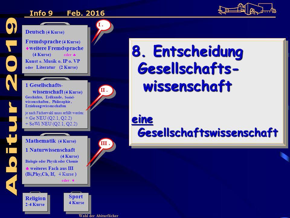 Wahl der Abiturfächer 8. Entscheidung Gesellschafts- wissenschaft eine Gesellschaftswissenschaft 8.