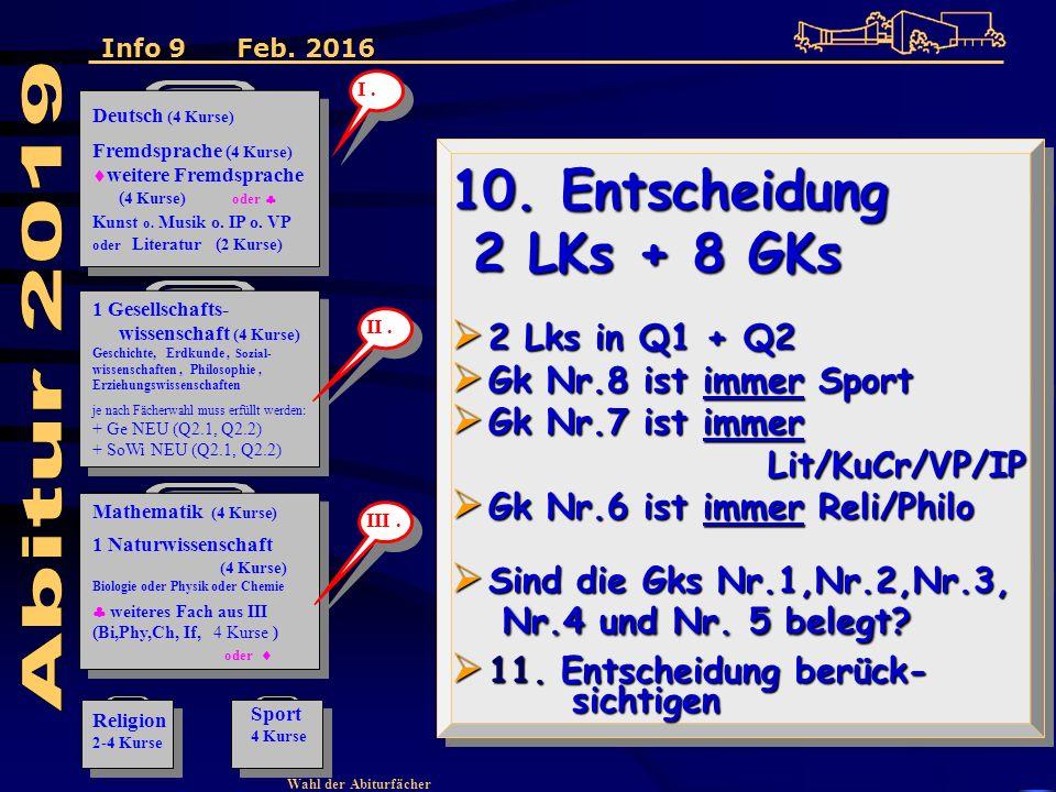 Wahl der Abiturfächer 10.
