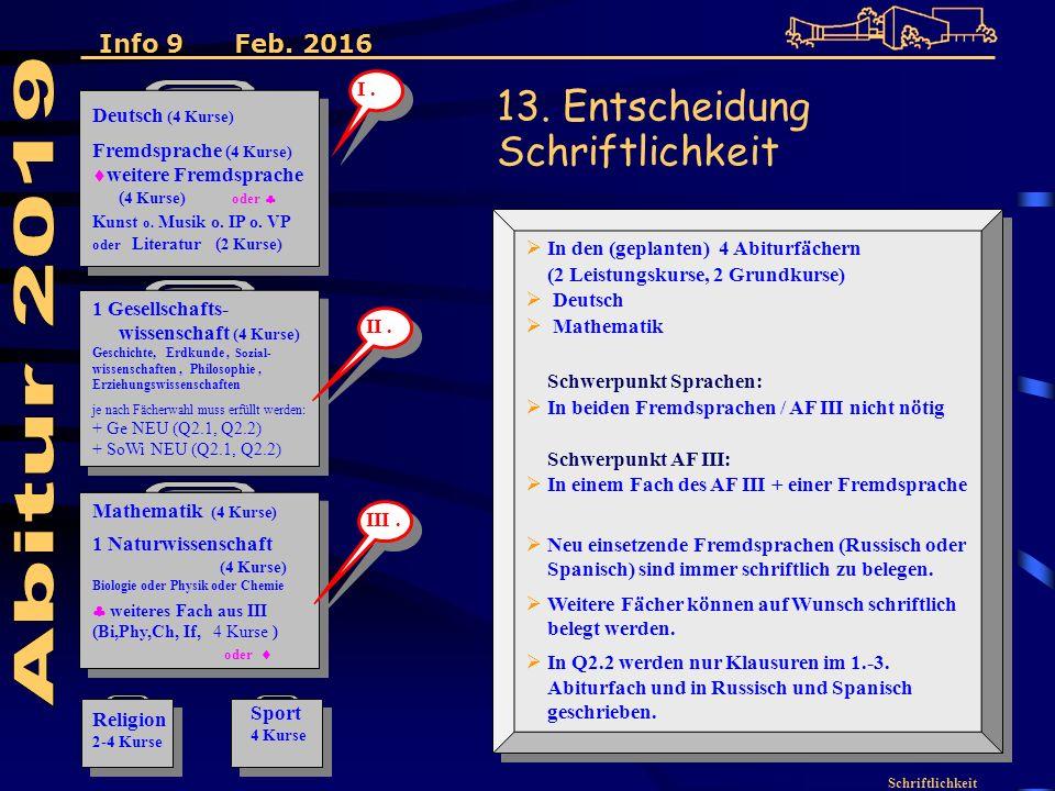 Schriftlichkeit Deutsch (4 Kurse) Fremdsprache ( 4 Kurse)  weitere Fremdsprache ( 4 Kurse) oder  Kunst o.