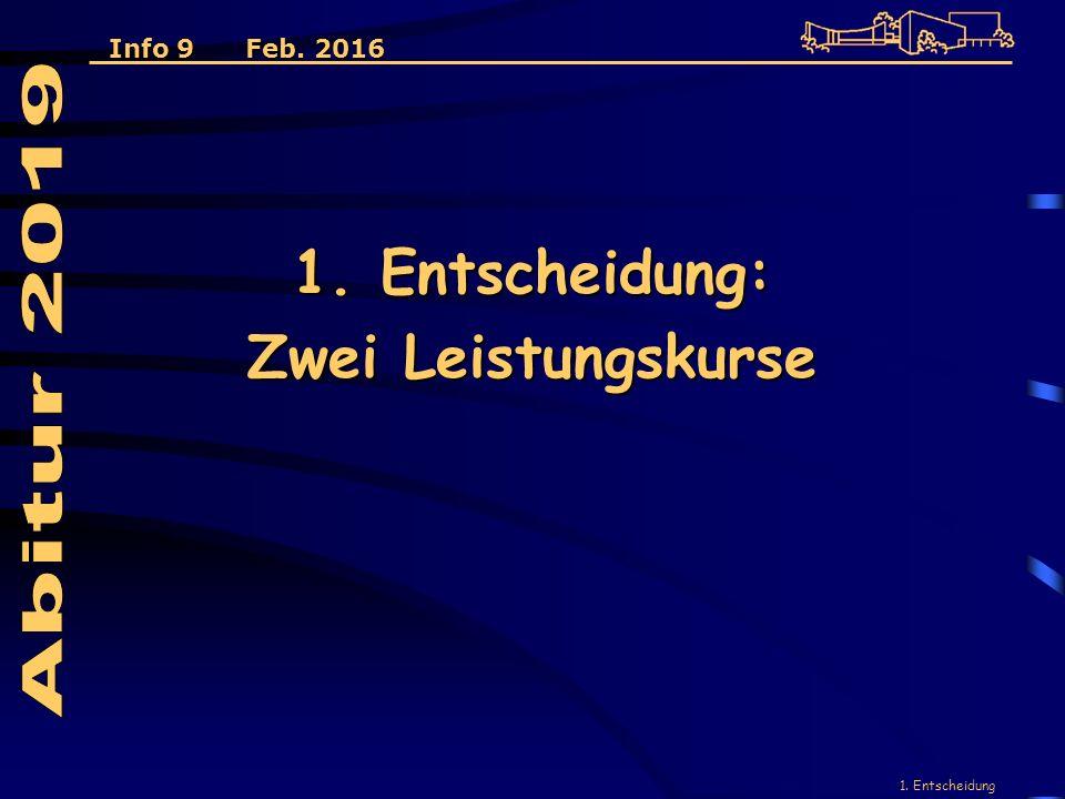 1. Entscheidung 1. Entscheidung: Zwei Leistungskurse Info 9 Feb. 2016