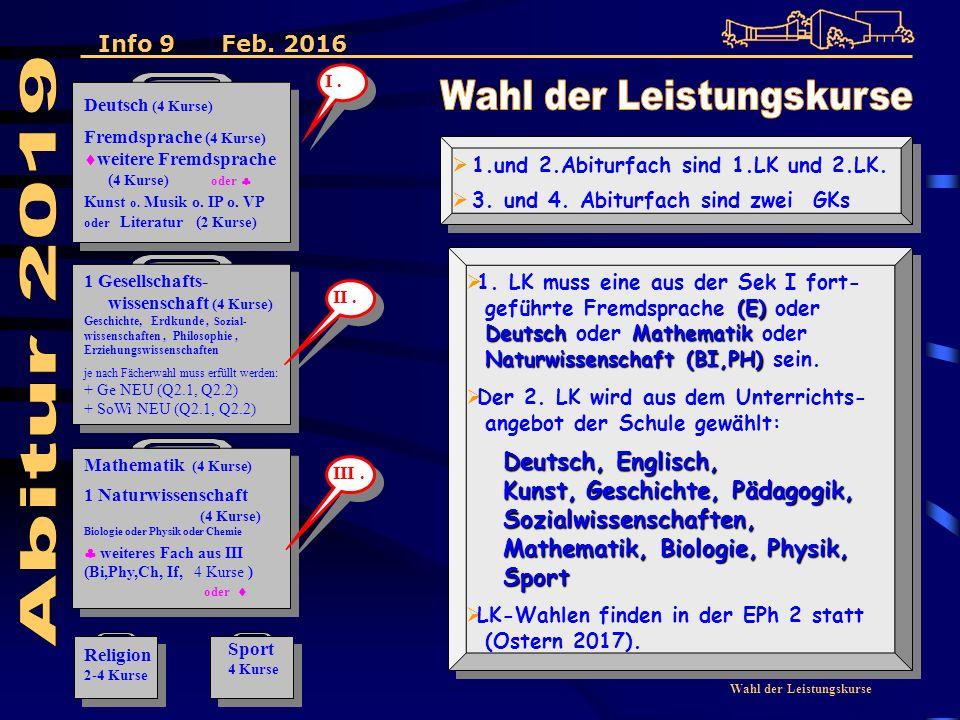 Wahl der Leistungskurse  1.und 2.Abiturfach sind 1.LK und 2.LK.