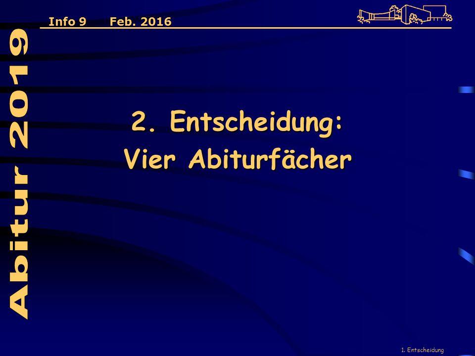 1. Entscheidung 2. Entscheidung: Vier Abiturfächer Info 9 Feb. 2016