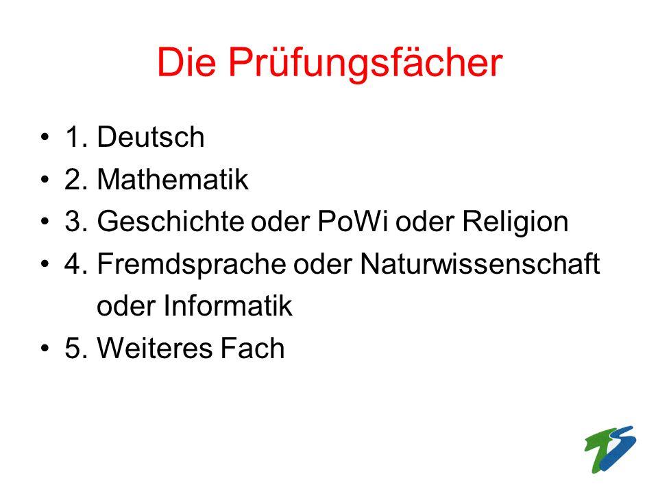 Die Prüfungsfächer 1. Deutsch 2. Mathematik 3. Geschichte oder PoWi oder Religion 4. Fremdsprache oder Naturwissenschaft oder Informatik 5. Weiteres F