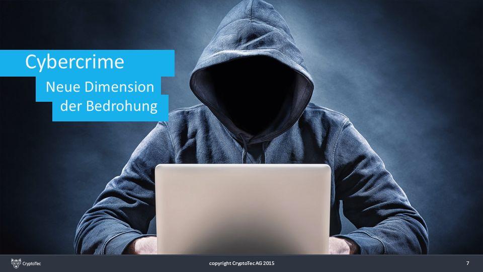 8 Cybercrime Angriffe von innen durch Insider und Social Engineering Große Datenspeicher-Geräte Industriespionage Zentralisierte Server VPN Webbrowser Einladung via E-Mail ( darin enthaltene Links) Hacker copyright CryptoTec AG 2015 8 Neue Dimension der Bedrohung
