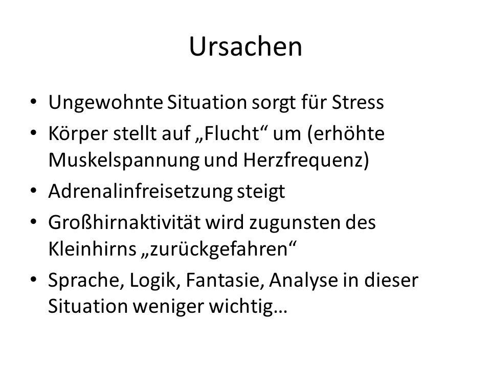 """Ursachen Ungewohnte Situation sorgt für Stress Körper stellt auf """"Flucht"""" um (erhöhte Muskelspannung und Herzfrequenz) Adrenalinfreisetzung steigt Gro"""