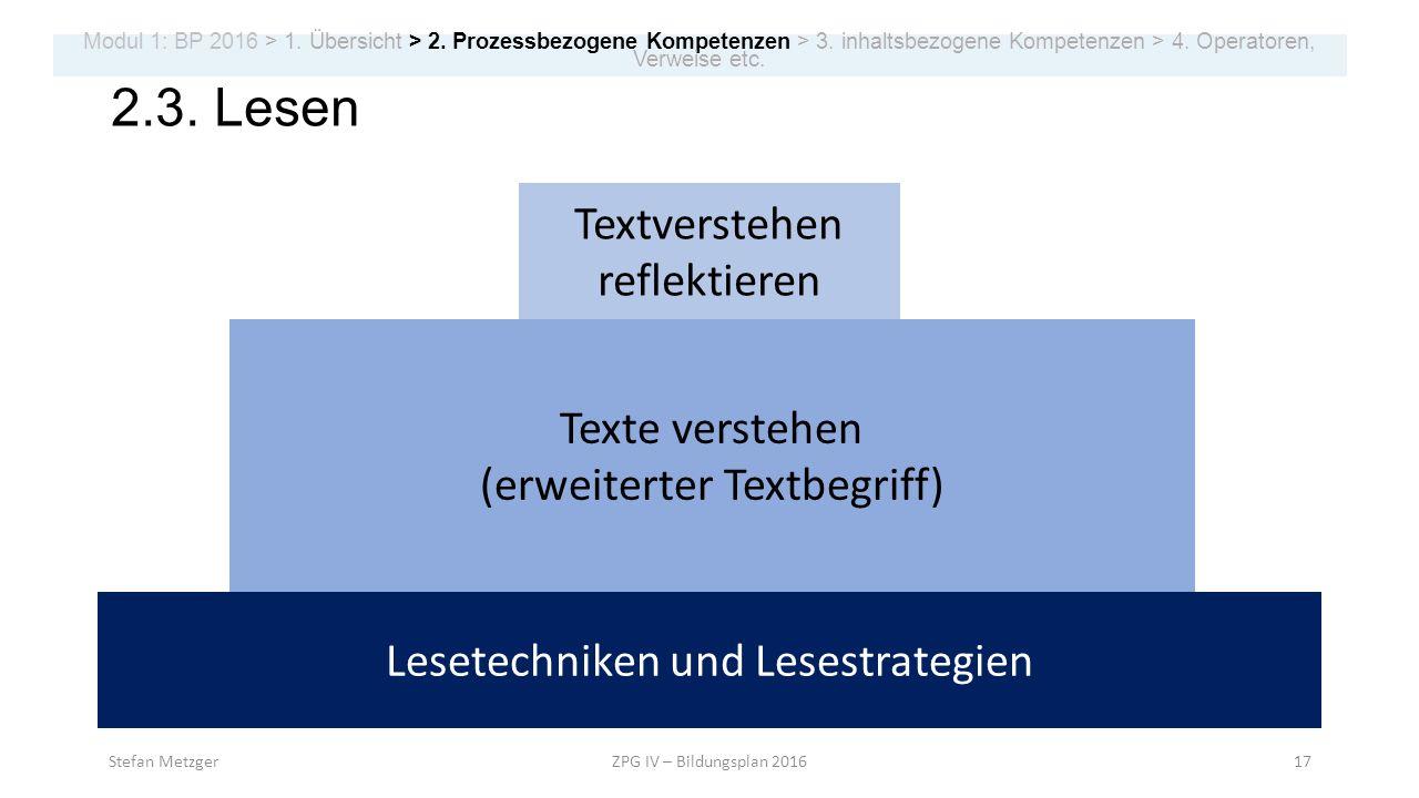 2.3. Lesen Lesetechniken und Lesestrategien Texte verstehen (erweiterter Textbegriff) Textverstehen reflektieren Stefan MetzgerZPG IV – Bildungsplan 2
