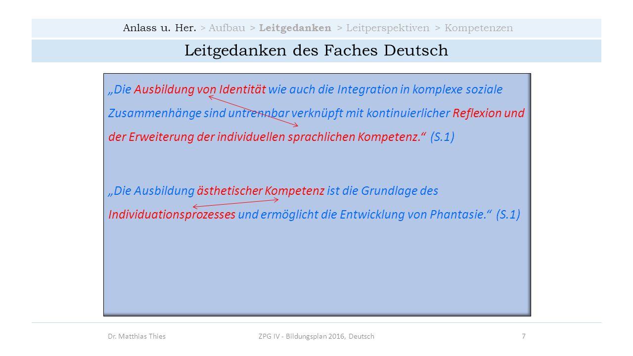 Anlass u. Her. > Aufbau > Leitgedanken > Leitperspektiven > Kompetenzen Dr. Matthias ThiesZPG IV - Bildungsplan 2016, Deutsch7 Leitgedanken des Faches