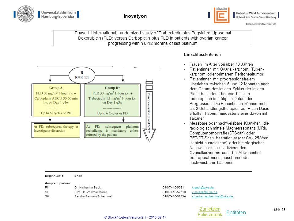 Entitäten Zur letzten Folie zurück Inovatyon Phase III international, randomized study of Trabectedin plus Pegylated Liposomal Doxorubicin (PLD) versu