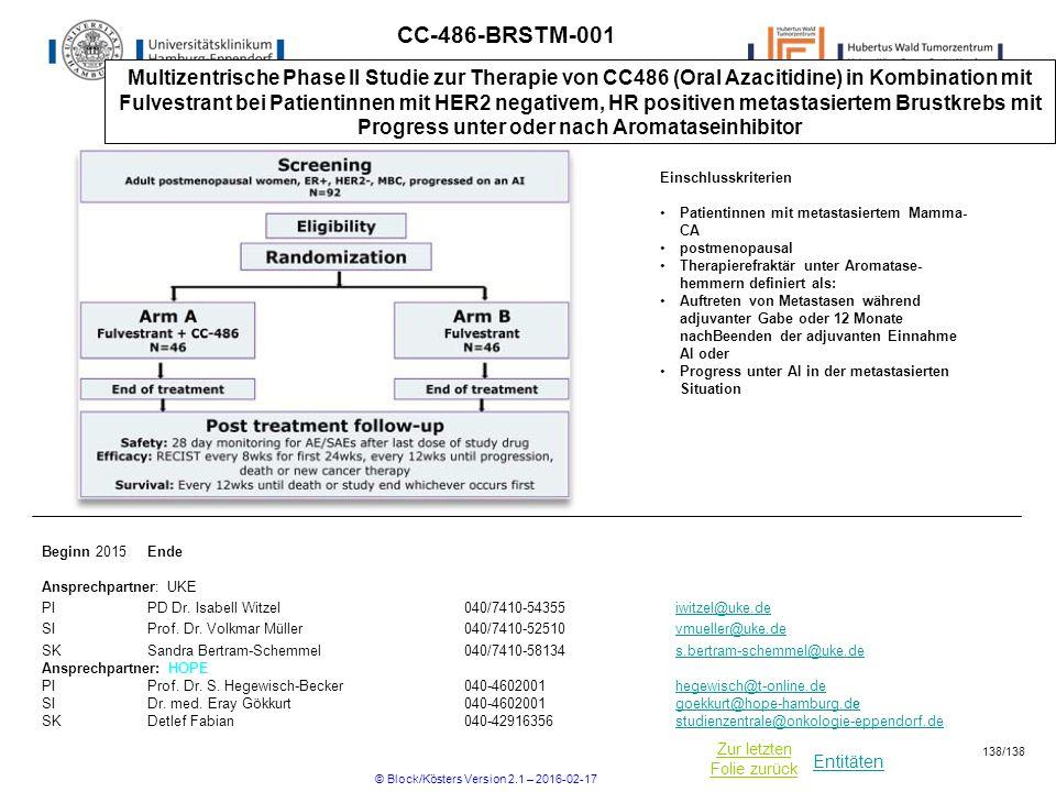 Entitäten Zur letzten Folie zurück CC-486-BRSTM-001 Multizentrische Phase II Studie zur Therapie von CC486 (Oral Azacitidine) in Kombination mit Fulvestrant bei Patientinnen mit HER2 negativem, HR positiven metastasiertem Brustkrebs mit Progress unter oder nach Aromataseinhibitor Beginn 2015Ende Ansprechpartner: UKE PIPD Dr.