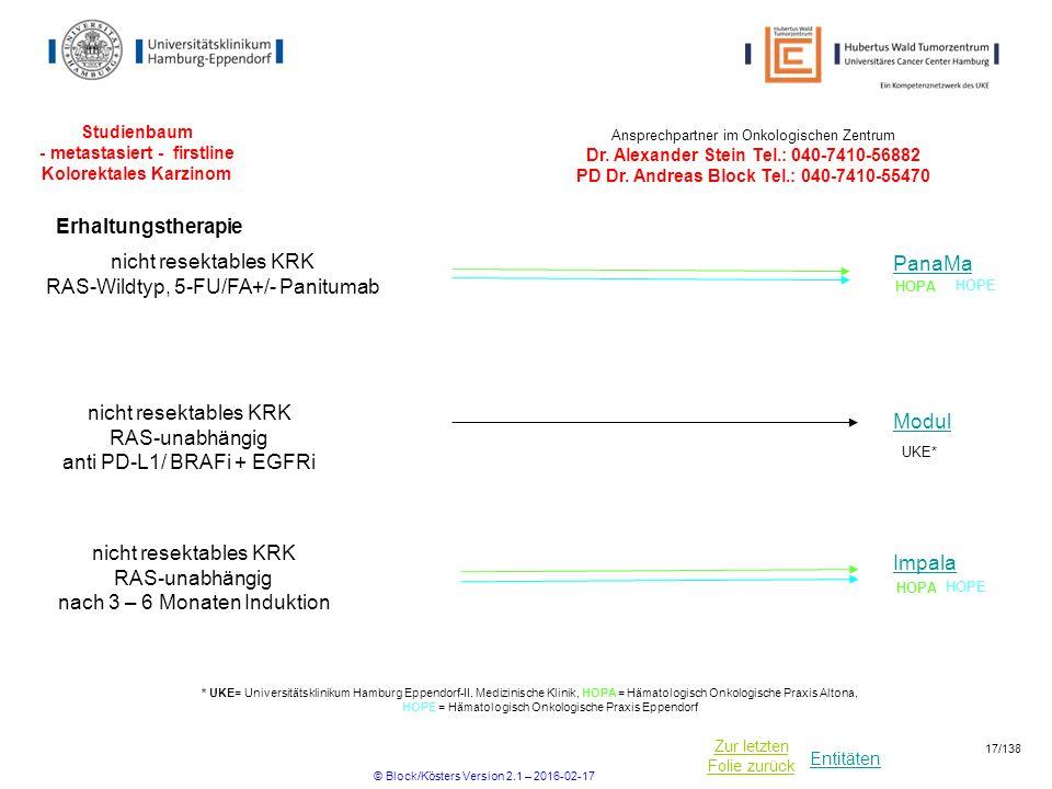 Entitäten Zur letzten Folie zurück Studienbaum - metastasiert - firstline Kolorektales Karzinom Ansprechpartner im Onkologischen Zentrum Dr.