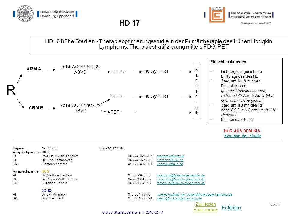 Entitäten Zur letzten Folie zurück HD 17 HD16 frühe Stadien - Therapieoptimierungsstudie in der Primärtherapie des frühen Hodgkin Lymphoms: Therapiestratifizierung mittels FDG-PET R Beginn12.12.2011Ende 01.12.2016 Ansprechpartner UKE: PIProf.