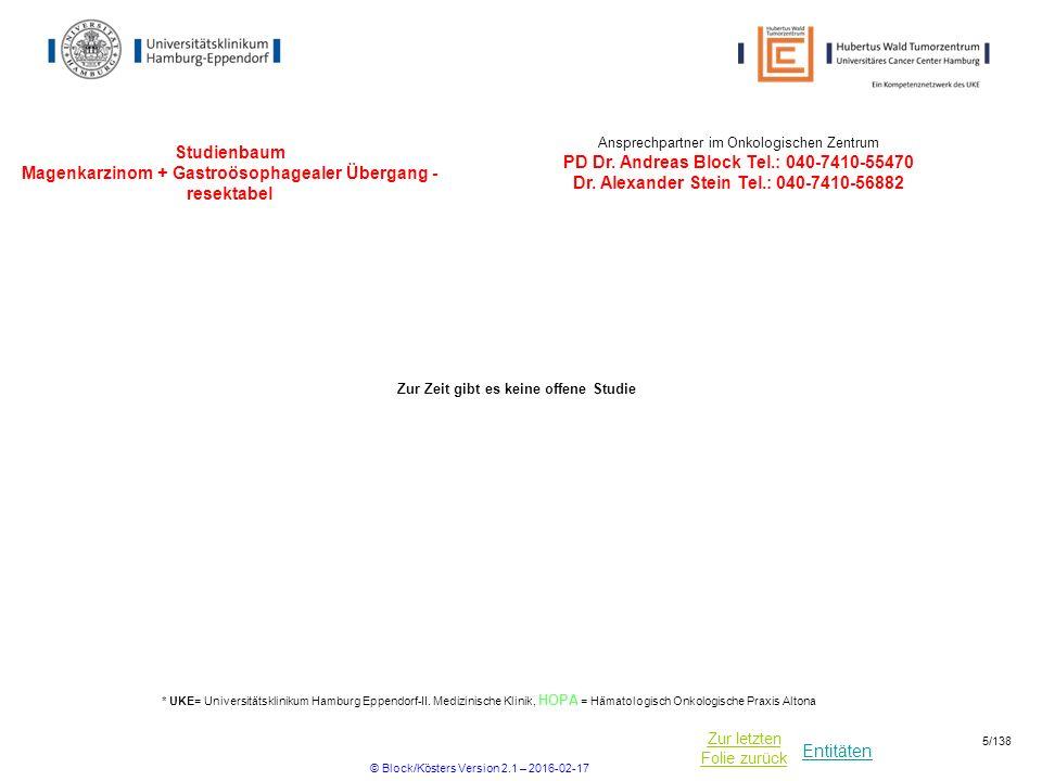 Entitäten Zur letzten Folie zurück Studienbaum Magenkarzinom + Gastroösophagealer Übergang - resektabel * UKE= Universitätsklinikum Hamburg Eppendorf-