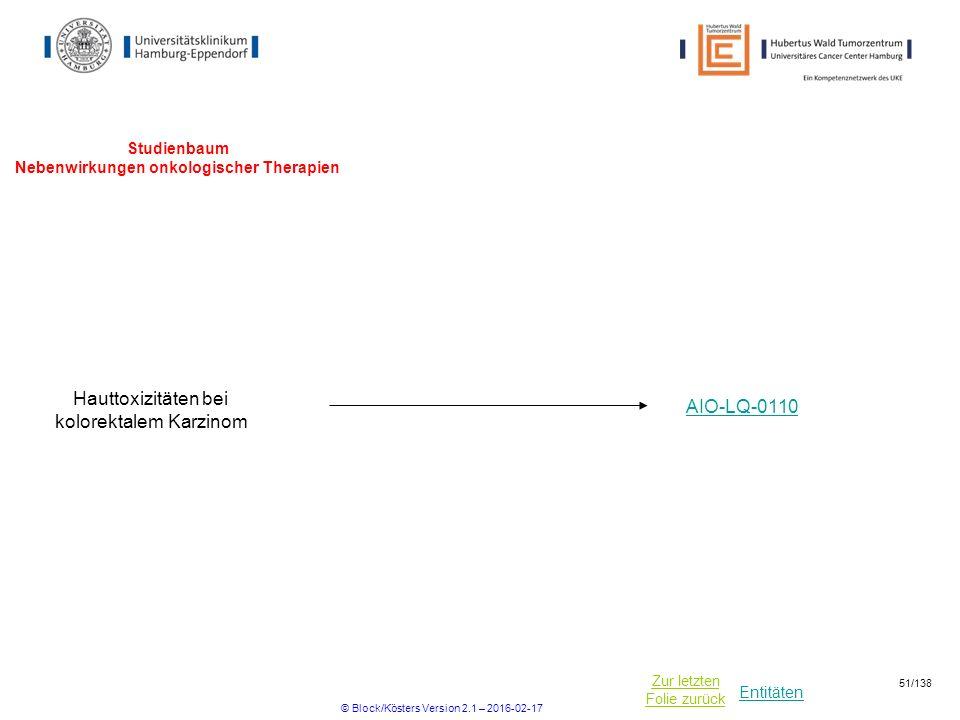 Entitäten Zur letzten Folie zurück Studienbaum Nebenwirkungen onkologischer Therapien Hauttoxizitäten bei kolorektalem Karzinom AIO-LQ-0110 © Block/Kösters Version 2.1 – 2016-02-17 51/138