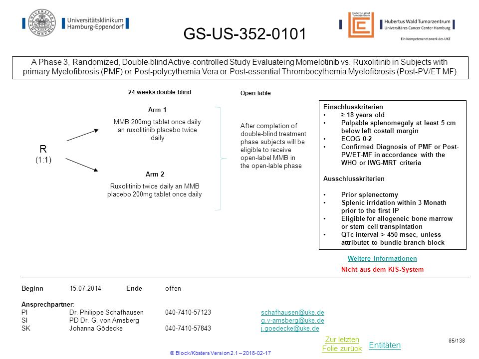 Entitäten Zur letzten Folie zurück GS-US-352-0101 A Phase 3, Randomized, Double-blind Active-controlled Study Evaluateing Momelotinib vs. Ruxolitinib