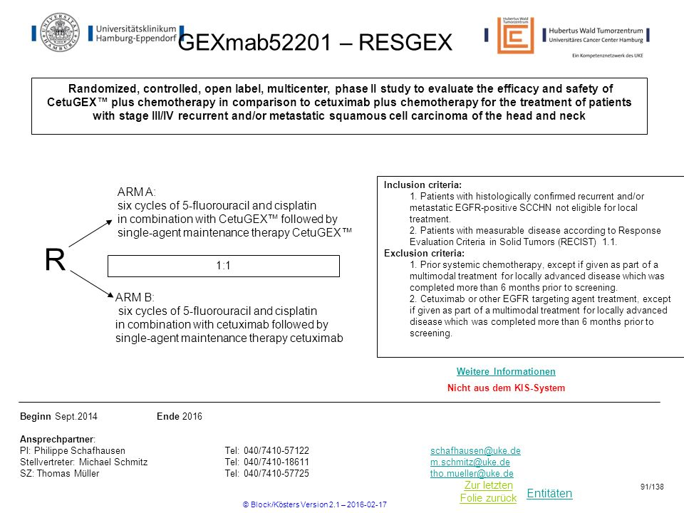 Entitäten Zur letzten Folie zurück GEXmab52201 – RESGEX Randomized, controlled, open label, multicenter, phase II study to evaluate the efficacy and s