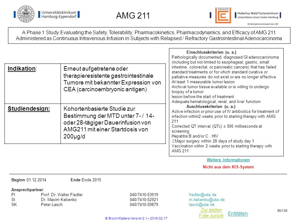 Entitäten Zur letzten Folie zurück AMG 211 Einschlusskriterien (u. a.) Pathologically documented, diagnosed GI adenocarcinoma (including but not limit