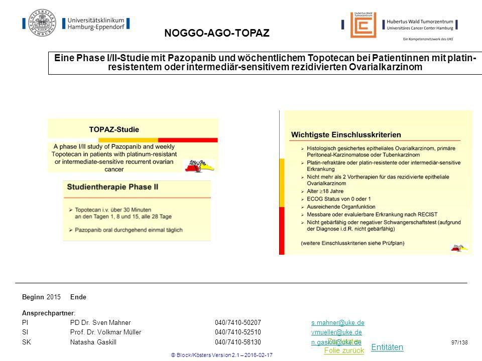 Entitäten Zur letzten Folie zurück NOGGO-AGO-TOPAZ Eine Phase I/II-Studie mit Pazopanib und wöchentlichem Topotecan bei Patientinnen mit platin- resistentem oder intermediär-sensitivem rezidivierten Ovarialkarzinom Beginn 2015Ende Ansprechpartner: PIPD Dr.