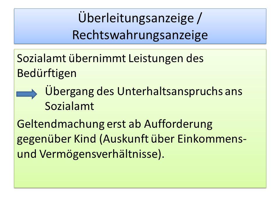 Überleitungsanzeige / Rechtswahrungsanzeige Sozialamt übernimmt Leistungen des Bedürftigen Übergang des Unterhaltsanspruchs ans Sozialamt Geltendmachu